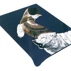 The Eagle & Wolf BA-934 Blanket is the softest, brightest, and plushest printed blanket on the planet. Can be used at the game, on a picnic, in the bedroom, or cuddle under it in the den while watching TV. These blankets are extra warm, as soft as mink and have superior durability. Made of an acrylic blend.Easy Care, machine wash and dry. Queen Size approx. 200x240 cm or 79x95 in. Buy online www.TheBlanketCompany.com or Call at (801) 280-6200.
