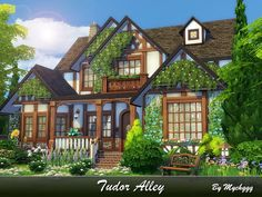Tudor Alley is a charming family house in Tudor style built on 30x30 lot in Newcrest. Found in TSR Category 'Sims 4 Residential Lots'