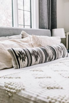 Inspired by the geometric patterns used by the Zapotec tribes of the Oaxaca region, this lumbar pillow's structural designs and black and white color scheme add a contemporary style update to your bed or couch. Geometric Patterns, Geometric Pillow, Cozy Bedroom, Bedroom Decor, Aztec Bedroom, Bedroom Ideas, White Bedroom, Southwest Bedroom, Moroccan Bedroom
