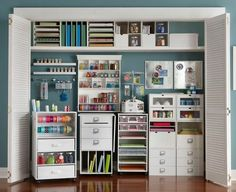 Turn an old wardrobe or unused closet into a perfect storage space for your craft supplies