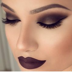 Gorgeous smoky eyes and bold matte lips
