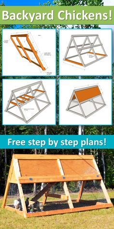A Frame Chicken Coop, Mobile Chicken Coop, Small Chicken Coops, Easy Chicken Coop, Diy Chicken Coop Plans, Portable Chicken Coop, Chicken Coop Designs, Backyard Chicken Coops, Building A Chicken Coop