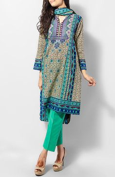 Buy Green Printed Cotton Lawn Salwar Kameez by Blossom Cotton Lawn Collection