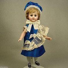 "Vtg Silk & Antique Lace Doll Dress & Hat for 7"" Mignonette All Bisque - Carol H. Straus #dollshopsunited"