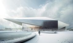 Geometrisch verformt Konferenzzentrum für EPFL in Lausanne