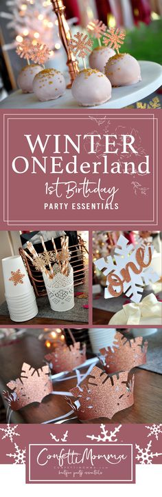 Host a Winter Onederland themed party for your little one with Confetti Momma's exquisite party essentials. First Birthday Winter, Winter Birthday Parties, 1st Birthday Party For Girls, Birthday Ideas, Winter Onederland Party Girl 1st Birthdays, Winter Wonderland Party, Princesas Disney, Invitation, First Birthdays