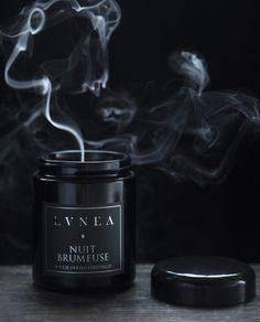 Nuit Brumeuse- Essential Oil Candle Featured Notes:Guaiac wood, vetiver, cedarwood, peppermint, and hints of warm vanilla and smoke. Made with pure essen...