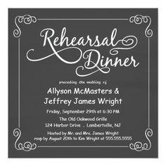 Vintage Wedding Rehearsal Dinner Chalkboard Rehearsal Dinner Invitations