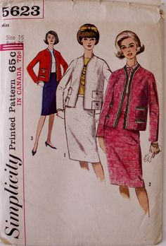 60s Suit Sewing Pattern 1960s Mod Skirt Jacket by SissysPatterns