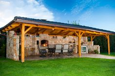 I like - Album uživatelky adec Backyard Pavilion, Backyard Gazebo, Backyard Patio Designs, Pergola Patio, Outdoor Kitchen Patio, Outdoor Kitchen Design, Outdoor Rooms, Backyard Fireplace, Concrete Patio