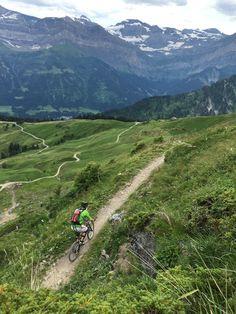Chris on the single track round the Pointe de l'Au. http://www.up-stix.com/tour-of-the-portes-du-soleil/   mountain biking   Portes du Soleil   chatel bike park   Morzine   Avoriaz   Morgins   Les Gets   France   Mountains   Rush Adventures  