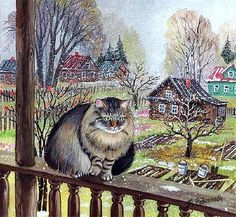 Cats in Russian painting. Art And Illustration, Pics Of Cute Cats, Animal Painter, Illustrator, Saint Yves, Winter Cat, Gatos Cats, Russian Painting, Gif Animé