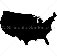 United States silhouette clip art. Download free versions of the image in EPS, JPG, PDF, PNG, and SVG formats at http://silhouettegarden.com/download/united-states-silhouette/