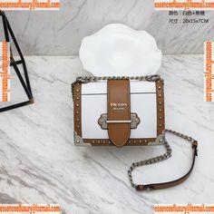 2a547be78ea195 Prada Cahier Studs Leather Shoulder Bag Prada Luxury Bags 1BD045 20x15x7CM  A161PP1280 AA67284