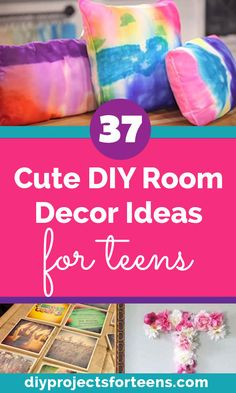 Cute DIY Room Decor Ideas for teens and tweens Diy Projects For Bedroom, Diy Projects For Teens, Diy For Teens, Crafts For Teens, Teen Crafts, Easy Diy Projects, Diy Bedroom, Cute Teen Bedrooms, Cute Diy Room Decor