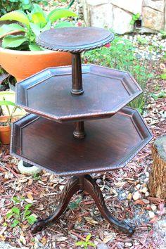 3- tier mahogany pie table