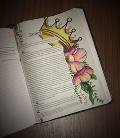 """James 1:12 """"God blesses those who patiently endure testing and temptation. Afterward they will receive the crown of life that God has promised to those who love him."""" Bible Journaling - Bible Journal Page Tips & Techniques"""