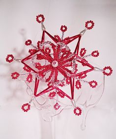 "A big tree-dimensional Christmas star ""Red & Silver"" - 15 cm"