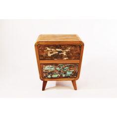 szafka drewniana z Indonezji, ręcznie wykonana z drewna tekowego, recyklingowanego ze starych łodzi