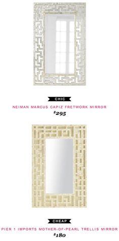 Neiman Marcus Capiz Fretwork Mirror $295  -vs-  Pier 1 Imports Mother of Pearl Trellis Mirror $180