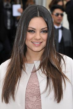 Subtle ombre with a center part. Always in love with Mila Kunis' hair!