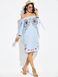 EricDress - EricDress Ericdress Off Shoulder Bowknot Sleeve Floral Casual Dress - AdoreWe.com