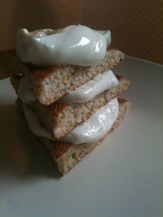 Oat bran pancake with Greek yogurt frosting