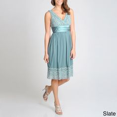 @Overstock - Lace detail at the bustline and hem offer delicate feminine flair to this formal dress from R & M Richards. This beautiful dress is finished with a flattering satin wrapped empire waist.http://www.overstock.com/Clothing-Shoes/R-M-Richards-Womens-Lace-Accented-Empire-Dress/7894704/product.html?CID=214117 $49.99