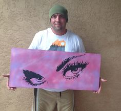 """""""Watchful Eyes"""" - Spray Paint on Wood by Me. 36"""" x 16"""" x 1"""" (Inches). My first since being diagnosed w/ a large brain tumor. One of a kind original. Many of you know of my struggle per previous pos..."""