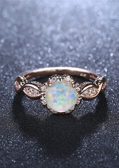 Opal engagement ring Rose gold engagement ring Diamond cluster ring vintage Unique wedding women Bridal Jewelry Anniversary gift for women - Fine Jewelry Ideas Leaf Engagement Ring, Vintage Engagement Rings, Vintage Rings, Vintage Silver, Opal Diamond Engagement Ring, Rose Vintage, Solitaire Diamond, Bridal Rings, Wedding Rings