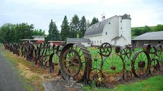 This Dahmen barn in Uniontown in the Palouse is one of my favorite restorations, now an artist's haven. The fence is made from a variety of farm equipment rims. Diy Fence, Fence Gate, Fence Ideas, Horse Fence, Farm Fence, Junk Art, Garden Fencing, Backyard Fences, Old Barns