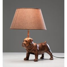 Decorative Bulldog Iron Table Lamp With Brown Polyresin Flax Lampshade. Table Lamp Collections Perfect For Your Modern Lifestyle. Table Lamps For Sale, Table Lamps For Bedroom, Lamp Table, Unusual Table Lamps, Tiffany, Dog Table, Lighting Sale, Lighting Ideas, Fancy