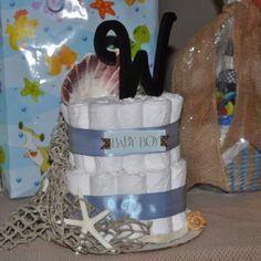 A beach themed diaper cake I made.