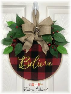 Spring Ribbon Jointed Wooden Hanging Decor Sign 22 x 2 Inches