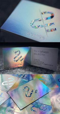Super Shiny Holographic Foil Business Card Design