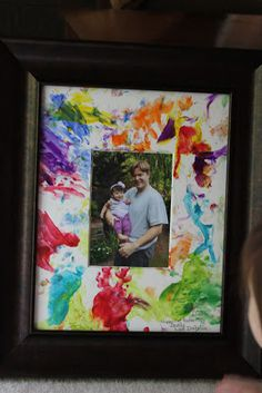 Love this gift idea! Let child fingerpaint a mat, then frame a picture inside... don't forget to put date and age for when you look back at all the cuteness of childhood