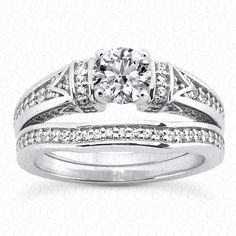 14KW Bridal set with 50 diamonds (.16 ctw) in the engagement ring & 25 diamonds (.06ctw) in the wedding band  ENS3276