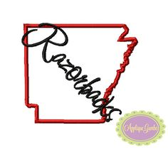 Razorbacks Arkansas State Outline Machine Embroidery Applique Design by GeauxBabyBoutiqueLA on Etsy https://www.etsy.com/listing/181541219/razorbacks-arkansas-state-outline
