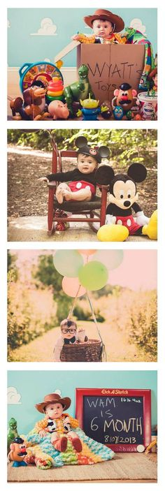 Cute Disney and Pixar baby photos. Love the Toy Story, UP, and Mickey Mouse themes - especially for first birthdays and birthday party invites!!