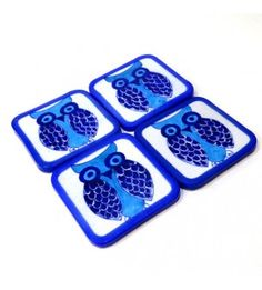 Blue And white Owl Coasters