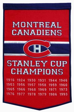 Montreal Canadiens Championship Banner measures feet, is made of thick wool, and is detailed embroidered with the logos and insignias of the Montreal Canadiens. This Montreal Canadiens Championship Banner is Officially Licensed by the NHL. Montreal Canadiens, Hockey Teams, Hockey Players, Sports Teams, Nhl, Wall Banner, Stanley Cup Champions, Pittsburgh Penguins Hockey, Of Montreal