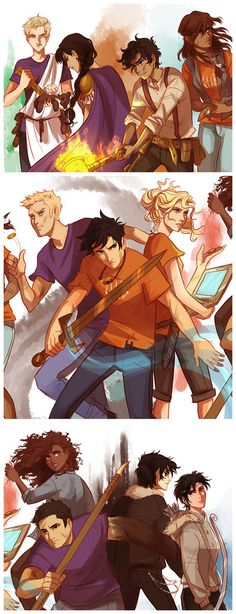 First slide: Augur Octavian (you little murderer of PERCY'S PANDA) Praetor Reyna Avila Ramirez-Arellano, Leo Valdez and Piper McLean. Second: Jason Grace, Percy Jackson and Annabeth Chase. Third: Hazel Levesque, Frank Zhang, Nico Di Angelo. and Thaila Grace