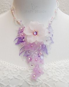 Lucite+Flower+Statement+Necklace+Vairous+by+JaneyDesignJewelry,+$78.80