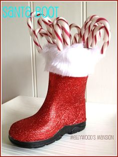 Christmas Boot Centerpiece , a cute upcycle everyone can do! ~ Thrift store for toddler boots, Glitter paint and white trim. Done!