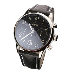 Stowa Chronograph 1938 black polished, Item No. Fancy Watches, Vintage Watches, Cool Watches, Watches For Men, Men's Watches, Amazing Watches, Beautiful Watches, Stowa, Black Polish