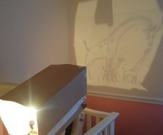 I made a makeshift projector using a box, a lamp and some tape. Project the transparency onto the wall. I found that using a light bulb with...