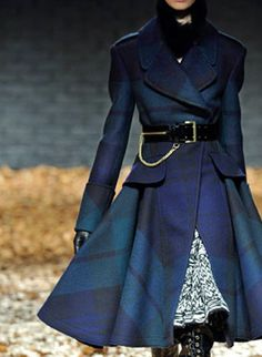 Alexander McQueen coat in Black Watch Tartan.