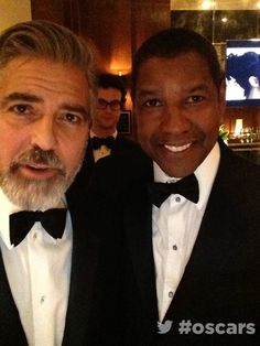 Backstage at the #oscars in the #ArchDigestGreenRoom with Denzel Washington & George Clooney@TheAcademy
