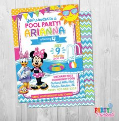 Minnie Mouse Pool Party Invitation Minnie Pool Party Invitation Minnie Mouse Swim Party Invite Minnie Pool Party Invite Swimming Printable by PartyPrintouts on Etsy Invitation Examples, Invitation Design, Invitation Templates, Pool Party Birthday Invitations, Print Your Own Invitations, Invites, Splash Party, Party Items, Etsy