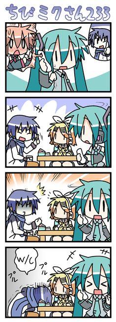 Lol chibi miku. Did anyone else notice rin is holding kaitos ice cream?